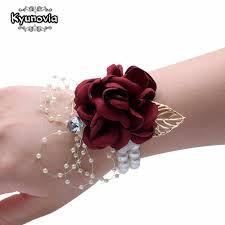 Kyunovia Wedding Prom <b>Corsage</b> Bride <b>Wrist Flower</b> Ceremony ...