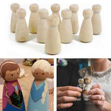 10pcs Natural Wood Peg Dolls <b>Kids DIY Craft</b> Handmade ...