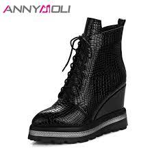<b>ANNYMOLI</b> Winter <b>Women</b> Ankle <b>Boots</b> Platform Wedge Heels ...