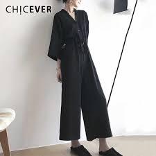 CHICEVER <b>Summer Lace</b> Up Black Jumpsuit For <b>Women</b> Wide Leg ...