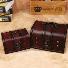 Kylin Express Vintage Style <b>Wooden Treasure Chest</b> Box Case ...