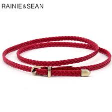<b>RAINIE SEAN</b> Braided <b>Leather</b> Belt <b>Women</b> Thin Waist Belt Black ...