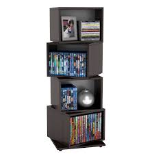 storage solutions living room: furniture interesting compact disc storage solutions for space saving attractive tall black painted wooden cubicle rotating