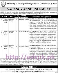 new career jobs p dd planning and development department govt of new career jobs p dd planning and development department govt of kpk jobs for project manager