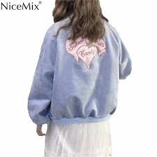 <b>NiceMix Spring</b> Kawaii Coat Women <b>Casual</b> Outwear Embroidry ...