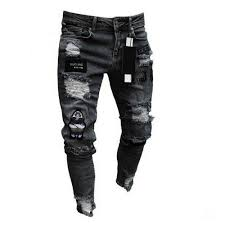 <b>Fashion Men's Ripped</b> Holes Jeans Embroidery Destoryed Hole ...
