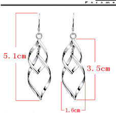 Girls <b>S925 sterling silver</b> ornaments Hyperbolic curve earrings Drop ...