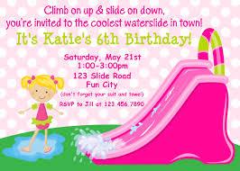 birthday invitation templates dolanpedia waterslide girl