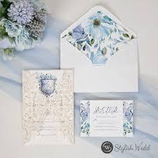 laser cut wrap with <b>blue</b> floral <b>pattern</b> wedding invitations SWWS133 ...
