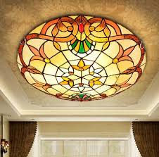 <b>European</b> Baroque Tiffany stained glass Ceiling Light Pastoral ...