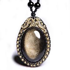 Natural Gold <b>Obsidian</b> Wolf Tooth <b>Pendant Necklace Fashion</b> ...