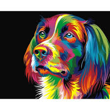 Frameless, Paint by Numbers <b>DIY</b> Oil Painting Colourful Dog ...
