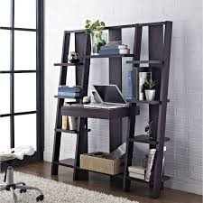 black stained wooden leaning ladder shelf with 10 tier racks and computer desk laid on white accessoriesendearing lay small