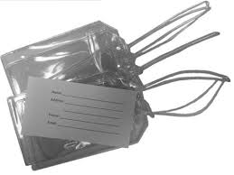 Easy Read Register 5 <b>Clear</b> Vinyl <b>Luggage Tags</b> with 5 Loops and 5 ...