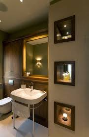 recessed lighting ideas in bathroom transitional with niche with mirror back built in cabinets bathroom recessed lighting ideas