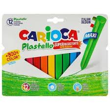 Мелки пластиковые 12 цветов <b>Carioca</b> Plastello Maxi Trio 95/12 ...