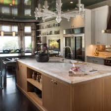 calacatta marble kitchen waterfall: oversized cerused oak kitchen island topped with calacatta marble