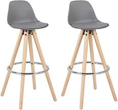 WOLTU <b>Bar Stools</b> Set of <b>2 pcs Barstools</b> Grey Breakfast Kitchen ...