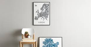 Europe Map by Kortkartellet 50 x <b>70cm</b> Wall Art <b>Print</b> | MADE.com