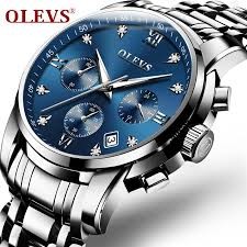 OLEVS Watches <b>Men</b> Quartz Date Calendar Chronograph Stainless ...