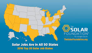 ray of sunshine solar accounted for in new jobs energy a complete list of the number of solar jobs by state along state growth rates over 2015 can be found at solarjobscensus org