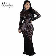Wendywu <b>Sexy</b> Club Deep V Neck Sequined <b>Split</b> Long Sleeve ...