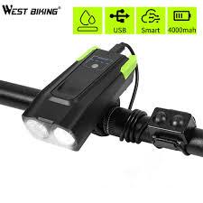 2000/4000mAh <b>Smart Induction Bicycle Front</b> Light USB ...