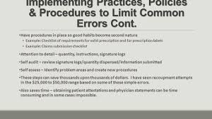 best practices for avoiding or surviving an audit greg reybold implementing practices policies procedures to limit common errors cont