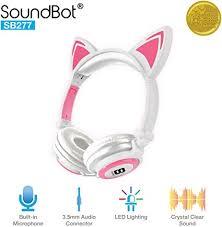 SoundBot SB277 Flashing Glowing <b>LED</b> Cat <b>Ear Fordable</b> Wired ...