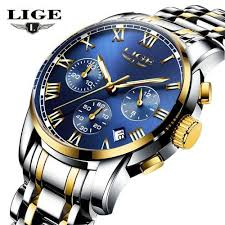 <b>Lige Men</b> Luxury Chronograph Steel Quartz <b>Relogio Masculino</b> 9810