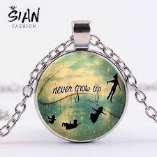 SIAN <b>Cartoon Peter Pan</b> Long Chain Necklace <b>Never</b> Grow Up ...