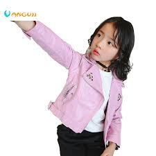 <b>girls leather jacket PU jacket</b> for children 2 7 year old fashion <b>rivet</b> ...