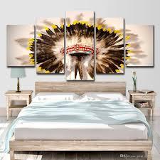 <b>HD</b> Printed <b>5 Piece</b> Canvas Art Native American Indian hat
