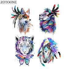 <b>ZOTOONE</b> Watercolor Animal Patch Iron On Tiger Patches For Kids ...