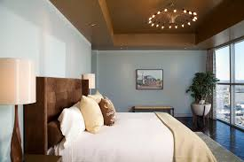 contemporary bedroom example of a trendy bedroom design in austin with blue walls wall and ceiling light bedroom lighting ceiling