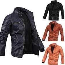 Rising ON <b>Mens</b> Fashion Stand Collar Zip-Up Slim <b>Pu</b>-<b>Leather</b> Moto ...