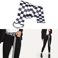 Fashion <b>Checkerboard Belt Canvas</b> Cummerbunds Waistband ...