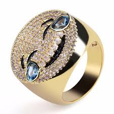 Mens Hip Hop Ring CZ Stone Bling Ice Out <b>Gold Silver Color</b> ...