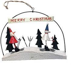<b>Skiing</b> Santa & <b>Snowman</b> Alpine <b>Christmas Decoration</b> Hang or ...