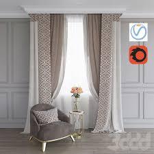 3d модели: <b>Шторы</b> - Портьера, кресло и столик с розами (Vray+ ...