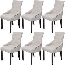 Modern Dining <b>Chairs</b> Button Tufted Linen Fabric - <b>6 pcs Cream</b> ...