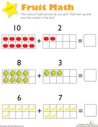 Addition: Fruit Math | Worksheet | Education.comKindergarten Addition Worksheets: Addition: Fruit Math