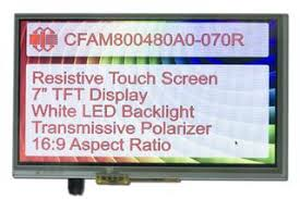 <b>800x480 7 Inch</b> TFT with Resistive Touch Screen