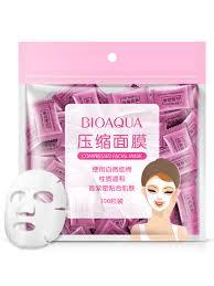 Buy BIOAQUA 100Pcs <b>Compressed Facial Mask</b> Thin Sheet <b>Natural</b> ...