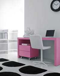charming pink desk with notebook and white stool in bright home office design dweefcom interior decorating furniture and interior decorating tips to bright home office design
