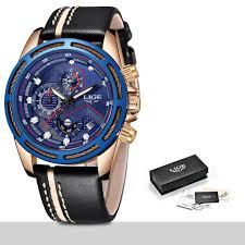 <b>LIGE Watch Men</b> Fashion Sport Quartz Clock Leather <b>Mens Watches</b> ...