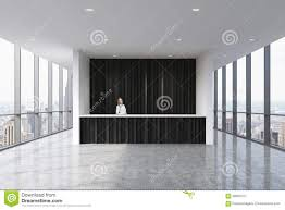 a reception area in a modern bright clean office with a beautiful receptionist in formal clothes beautiful bright office