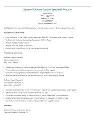 sample software support specialist resume resame sample software support specialist resume