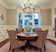 Tufted Leather Dining Room Chairs Brown Tufted Wingback Chair For Dining Room Combined With Round