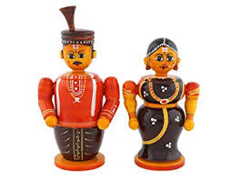 Anuradha <b>Wooden Bride and Groom</b> Box Showpiece, 4x4x12 ...